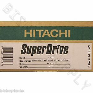 "Hitachi 17433 1000ct 9ga 2-1/2"" LOX SuperDrive Auto Feed Screws Wax Collated Wax"