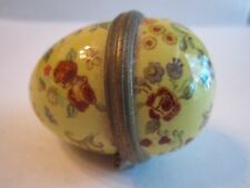 "Vintage Halcyon Days Enamel Egg Trinket Box - 2 1/4"" Long - No Box"
