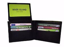 MENS Real Leather Slim Travel Card Holder Wallet Black, Photo ID, Sheep Tri Fold