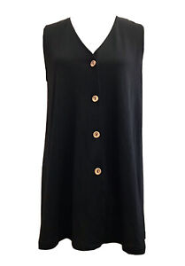CHAIN REACTION Size 12-14(S) Ladies Black Sleeveless Button-Up Tunic Top (VGC)