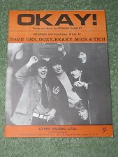 DAVE DEE, DOZY, BEAKY, MICK & TICH Okay! 1960s Music Song Sheet!