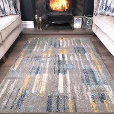 Grey, Blue & Mustard Painterly Area Rugs Soft Cosy Striped Low Pile Shaggy Rugs