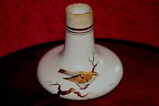 Vtg. Art Pottery Signed ARNALDO Ships Decanter Shaped Vase.Sparrow on Branch
