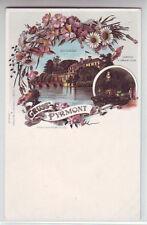 Litho Gruss aus Pyrmont   Schloss  ca. 1900 coloriert   Hameln