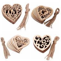 10 Wooden Love Heart Wedding Engaged Hanging Decor Laser Cut Craft Embellishment