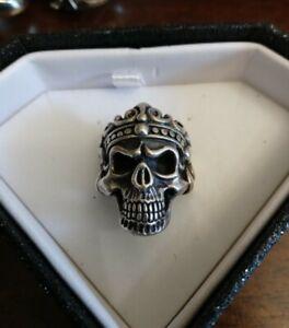 Sterling Silver Skull Ring Men's Biker Size 9 Heavy 21 Grams Not Scrap 925
