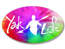 3x5 inch OVAL Tie Dye YAK LIFE Sticker - licensed decal kayak kayaking kayaker