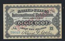 1876-50 CENTS PHILADELPHIA UNITED STATES INTERNATIONAL EXHIBITION PACKAGE TICKET
