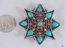 Huge Tibetan 8 Heart Turquoise 12 Coral Gemstone Ghau Prayer Box Amulet Pendant