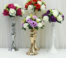 Flower Candlestick Vase Table Centerpiece Event Rack Candle Decor Metal Holder