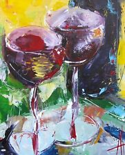IMPRESSIONISM STILL LIFE RED WINE LOVER ORIGINAL PAINTING ANNE THOUTHIP