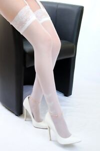 """LACE TOP THIGH HI STOCKINGS WITH BUTTERFLIES  """"KATE""""  white"""