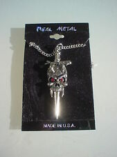 Real Metal EVIL FANGED HORNED DEVIL SWORD /DAGGER  Silver Tone Gothic Necklaces