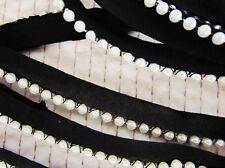 4 yards Pearl Bead Cotton Band Lace Trim/dress/sewing/notion/craft T170-Black
