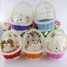 Toys Lovely Simulation Animal Doll Plush basket Cats Toy with Sound Kids Toy