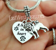 Pug puggle dog loss memory Remembrance Charm bracelet necklace Jewelry Gift