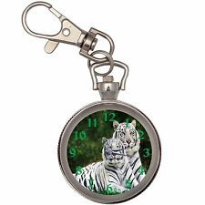 White Tigers Silver Key Ring Chain Pocket Watch