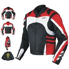 Textile Summer Jacket CE Armored Racing Motorbike Motorcycle Windproof Red S