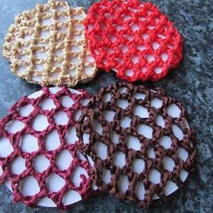 Colour Bun hair net thick crochet mesh plain fabric 10cm small ballet dance