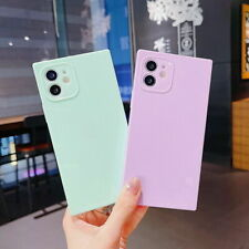 Square Case For iPhone 12 11 Pro Max Xs Xr 8 7 Plus Candy Silicoen Soft Cover