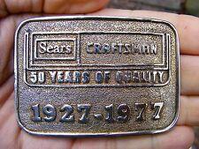 Vtg SEARS Belt Buckle 1977 Craftsman 50 Years GOLD LOGO RARE VG+
