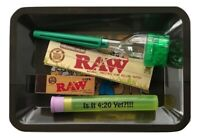 Raw Rolling Tray Bundle King Size Papers Raw Tips Doob Tube Cone Roller Grinder