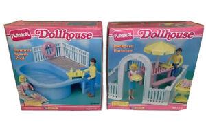 HTF Vintage Playskool Dollhouse Furniture Summer Splash Pool Backyard BBQ Toys