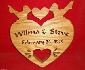 """Handcrafted Personalized Wedding or Anniversary """"Heart with Love Birds"""""""