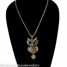 Owl Pendant Necklace Gold Crystal Antique Style Design BNWT