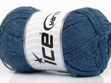 Lot of 4 x 100gr Skeins ICE NATURAL COTTON AIR (100% Cotton) Yarn Jeans Blue