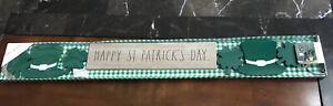 "Rae Dunn Beaded Shamrock Garland 36"" Happy St Patricks Day Green Top Hats HTF"