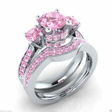 3.65Ct Pink Round Cut Diamond Certified Engagement Ring Set in 14K White Gold