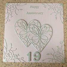 Handmade Aquamarine Wedding Anniversary card Happy 19th Wedding Anniversary
