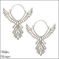 Stunning Phoenix Bird Wings Celestial Angel Statement Earrings in Silver & Gold