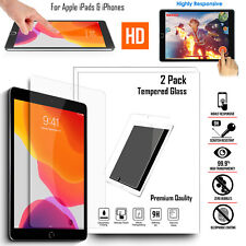 2 Pack LCD Screen Protector HD Crystal Tempered Glass For Apple iPad All Model