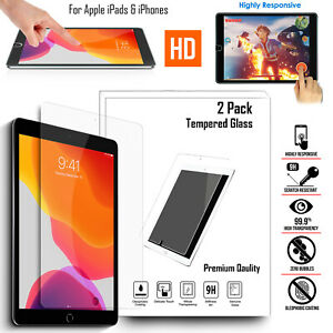 2X Tempered Glass Screen Protector For Apple iPad 10.2 Mini Pro 11 12.9 Air 10.9