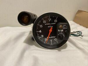 Vintage Autometer 8K Sport Comp Monster Tachometer Gauge With Amber Shift Light