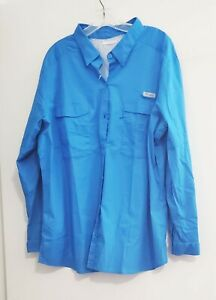 Columbia Womens PFG Plus Size Bonehead Stretch Utility Shirt Blue Sz 3X - NWT