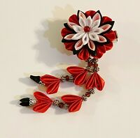 One pc Of Japanese Kanzashi Hair Clip Made With Red, Black, White, Pink Fabric