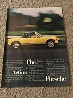 Vingtage 1973 ACTION PORSCHE Car Print Ad 1970s YELLOW 2.0 LITER 5-SPEED RARE