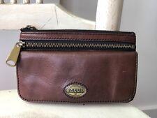 FOSSIL EXPLORER Espresso Brown Leather Double Zipper Organizer Clutch Wallet