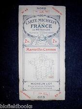 French MICHELIN Marsiglia Cannes ROAD MAP c1922 (Millefoglie/carte de la France)