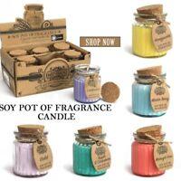 Soy Pot Of Fragrance Glass Jar Candle, 14 Fragrances To Choose, 20hr Burn Time