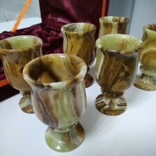 New listing Vintage Set Of 6 Marble/Onyx Wine Glasses / Goblets With case