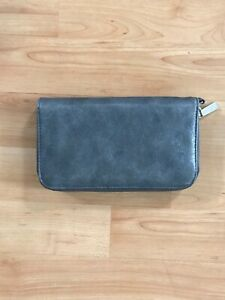 """Gray Zip Around Wallet With Gold Zipper 7""""X4.5"""" Credit Card Slots And Dividers"""
