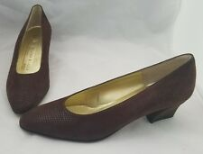 BRUNO MAGLI Womens Shoes Brown Suede Leather Pebbled Pump 5 1/2 AA Narrow Italy