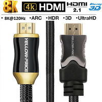 PREMIUM UltraHD HDMI Cable v2.1/v2.0 1.5ft -50ft High Speed 4K 2160p 3D Lead Lot