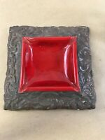 """Vintage Mid Century Anthony? Brown & Red Scallop Ashtray 7 1/2"""" Square G30"""