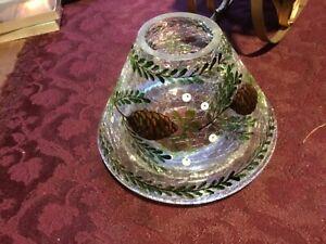 Crackle Jar Shade Med/Large Topper Pinecone Fir Tree
