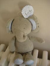 MARKS AND SPENCER  M&S WITH LOVE GREY ELEPHANT SOFT HUG TOY  BNWT blue stripe